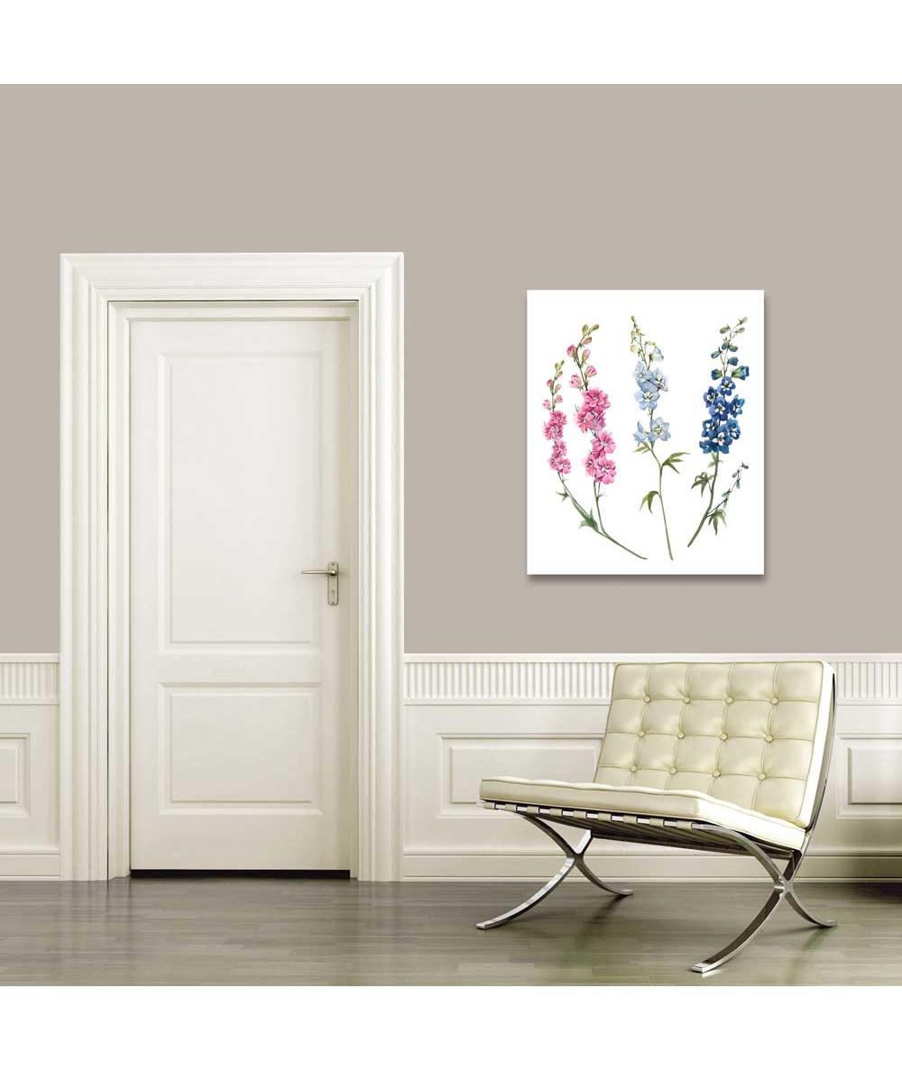 Kwiaty ogrodowe obrazek Ostróżka niebieska i różowa