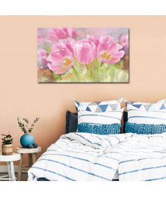 obrazy kwiaty Tulipany obraz na płótnie Różowe tulipany (szeroki)