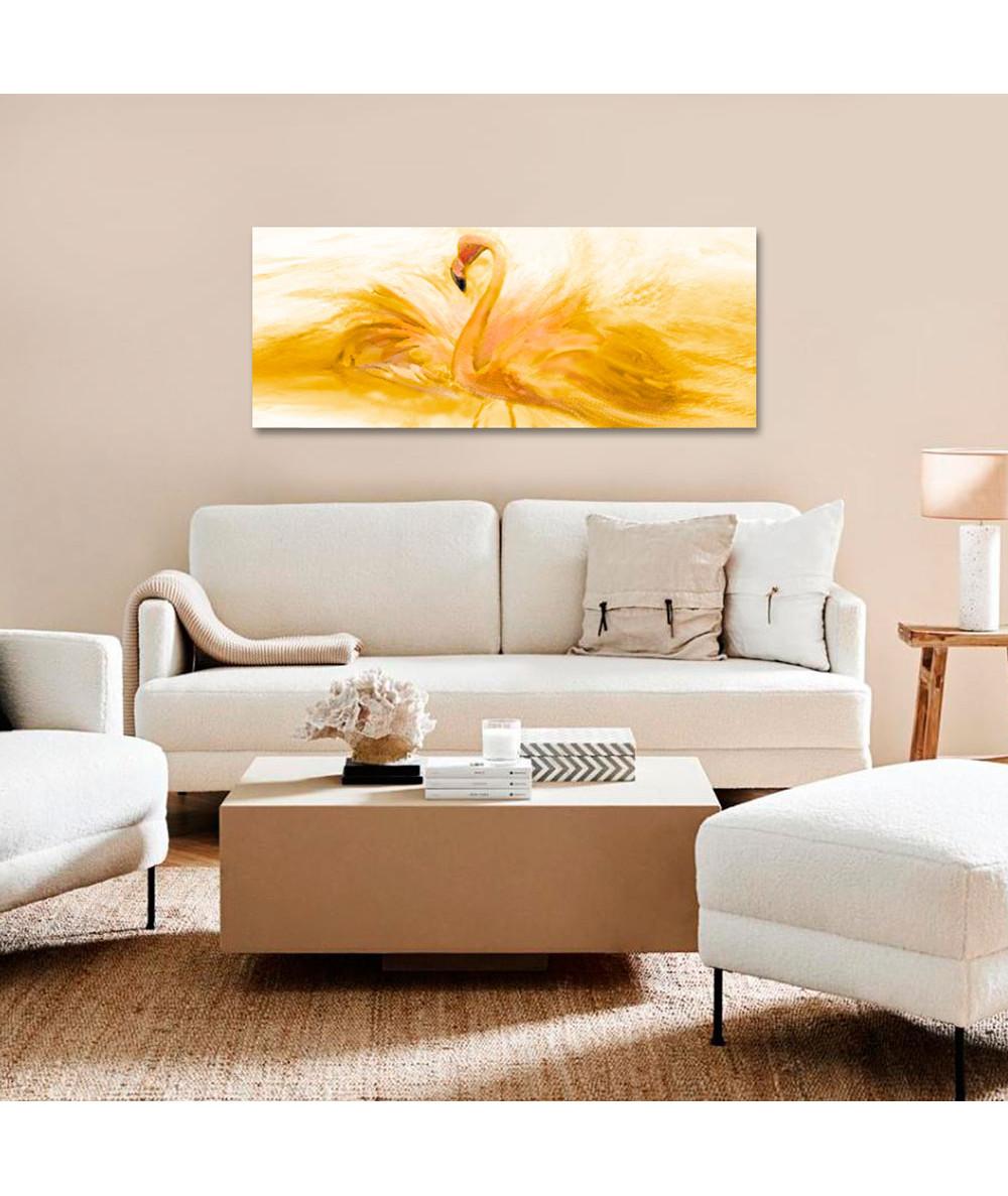 Obrazy zwierząt - Obraz nowoczesny żółty Flaming akwarela złoty (panorama)