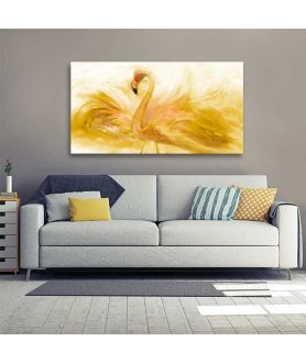 Obrazy na ścianę - Obraz malowany akwarelami Flaming akwarela złoty (długi)