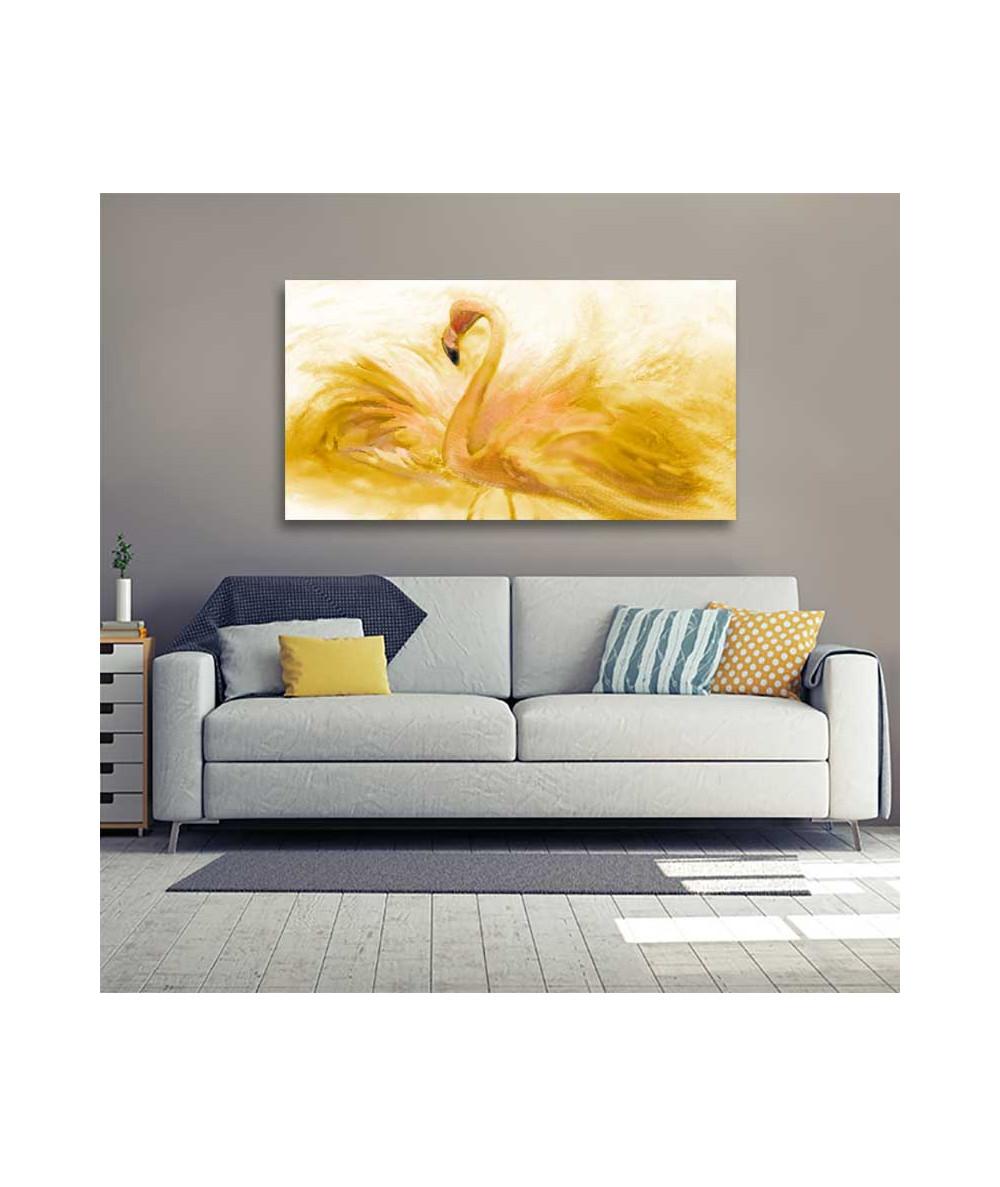 Obraz malowany akwarelami Flaming akwarela złoty (długi)