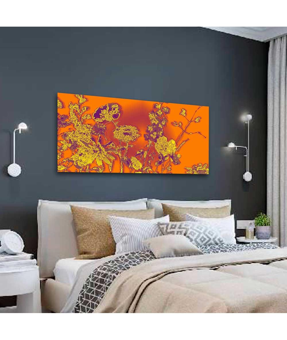 Obraz w kolorze pomarańczowym Słoneczne kwiaty (panorama)