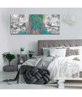 Obraz czarno biały z turkusem Abstrakcja las (panorama)