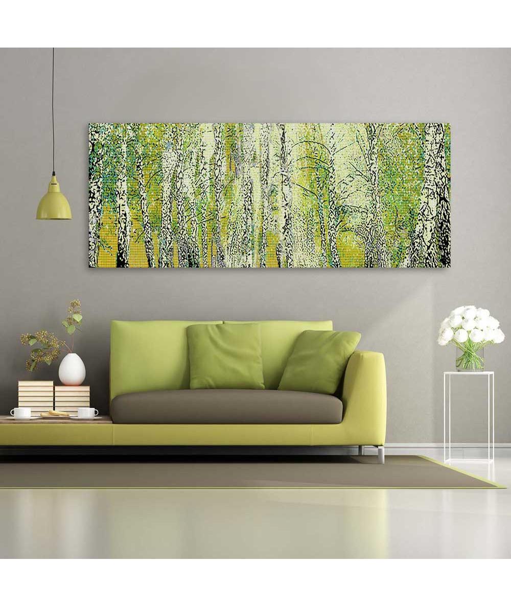 Obrazy pejzaże - Pejzaż brzozy na płótnie (obraz panoramiczny)