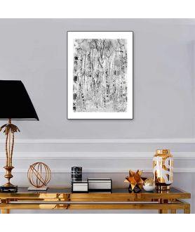 Obrazek czarno biały Brzózki