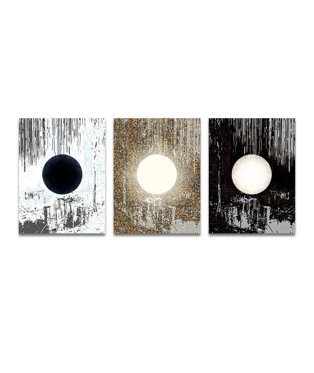 Tryptyk abstrakcja Abstrakcja z księżycem