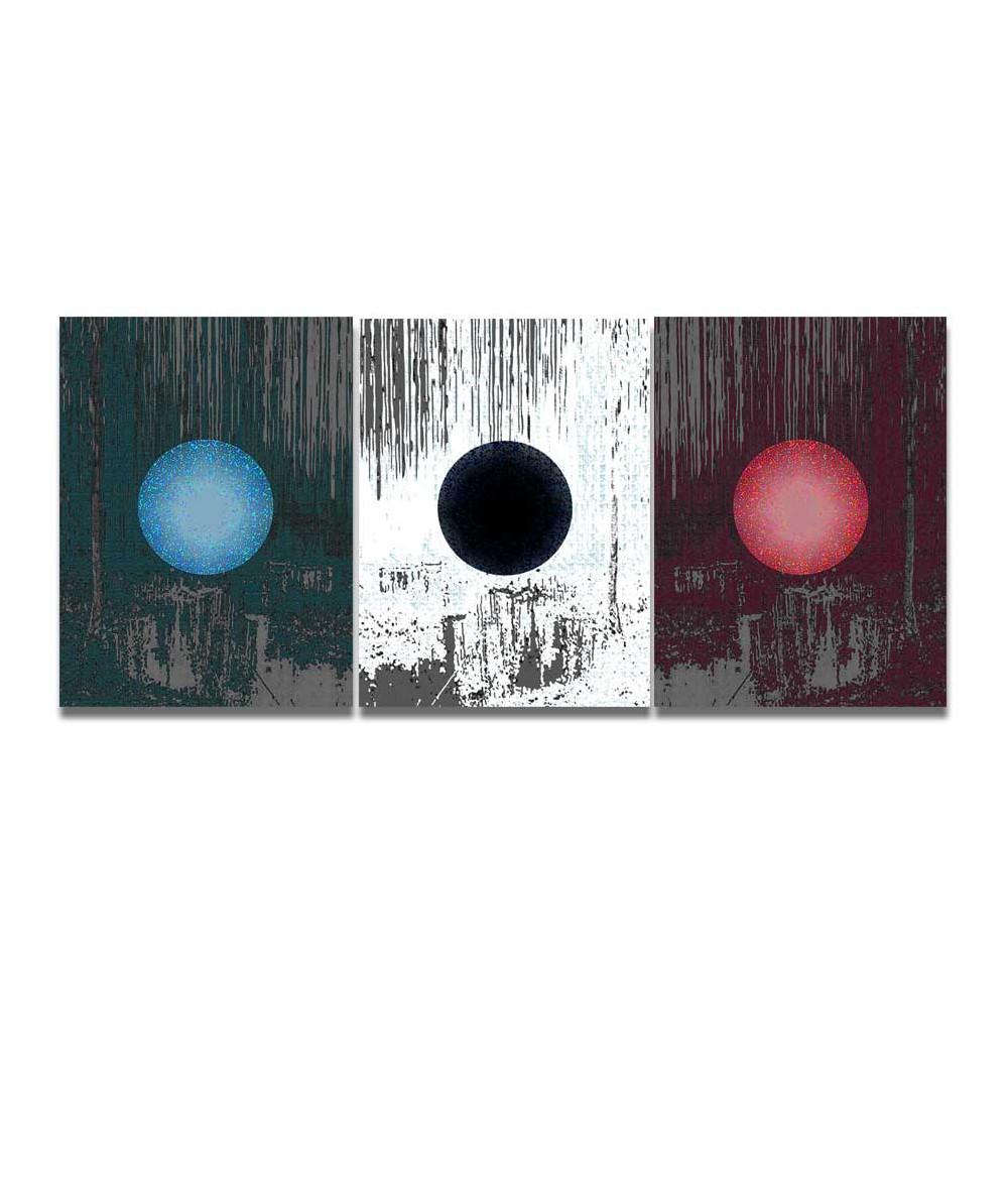 Obrazy abstrakcyjne - Obraz tryptyk abstrakcja Trzy księżyce