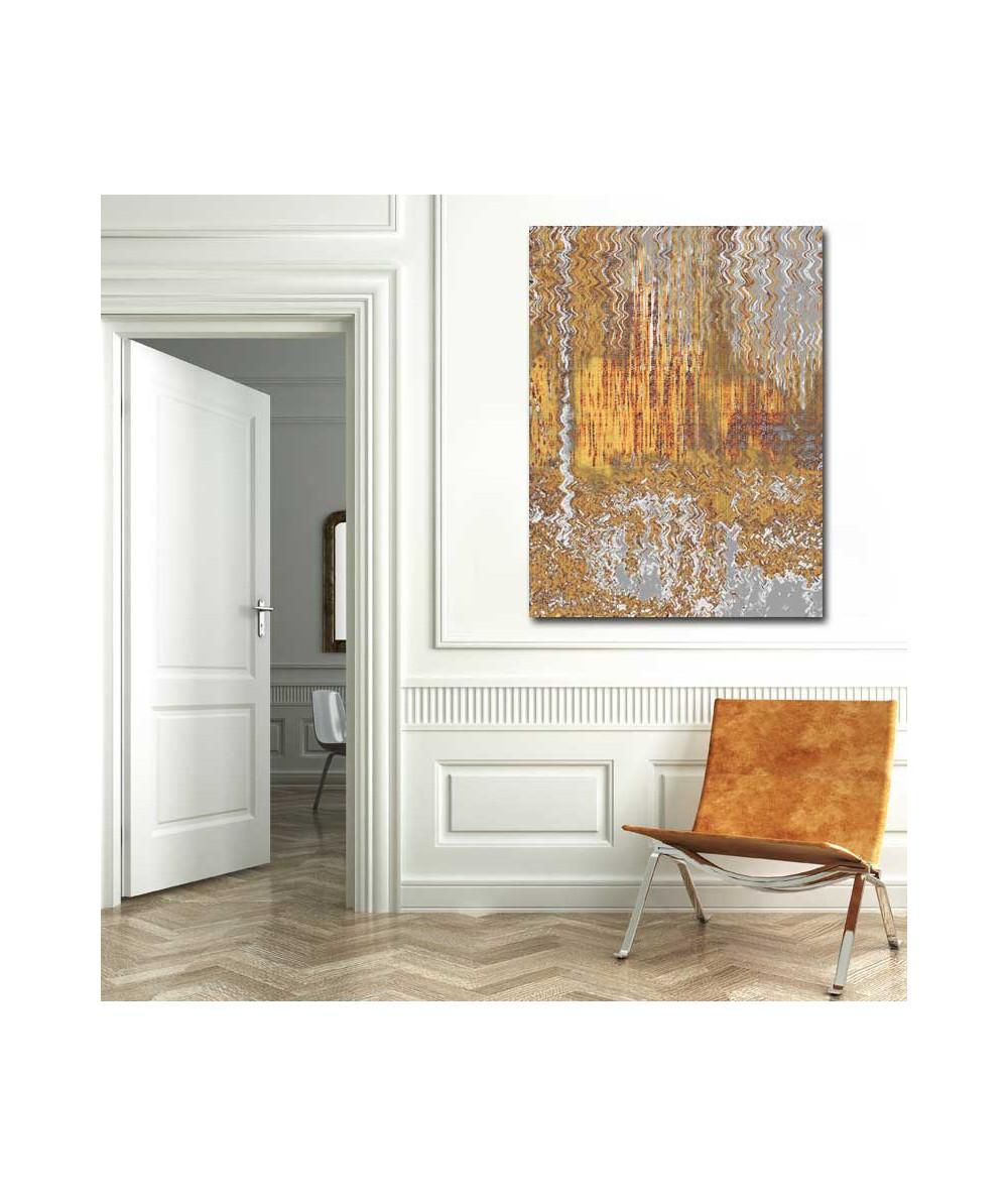 Obrazy abstrakcyjne - Abstrakcja do salonu Las szaro żółty