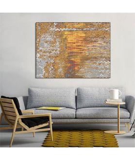Abstrakcja do salonu Las szaro żółty