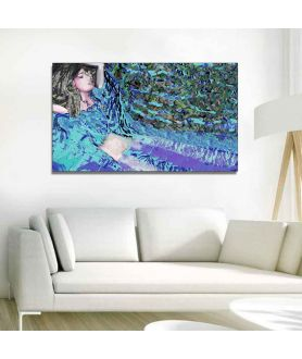 Obraz abstrakcja niebieski Sen kobiety