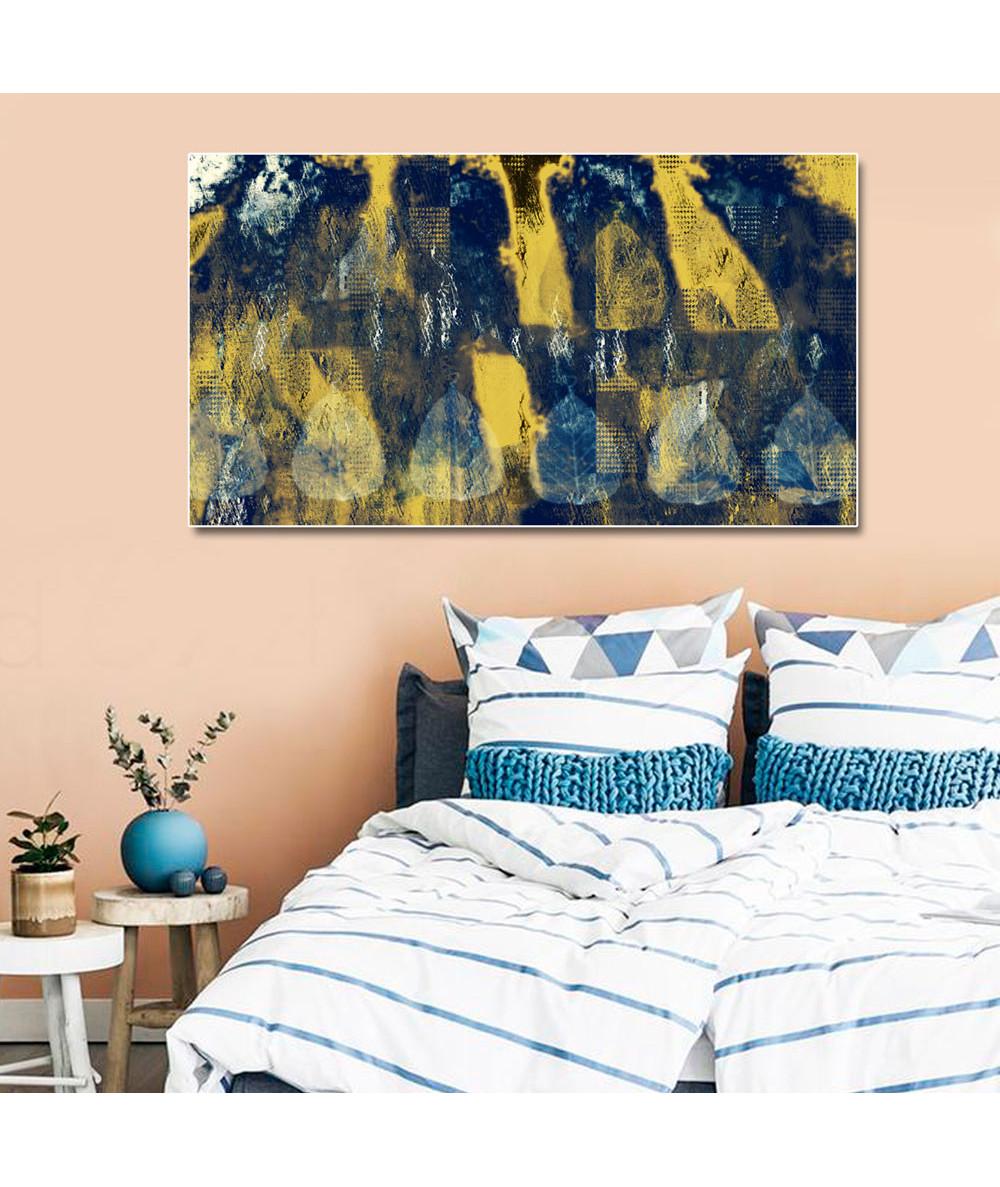 Obraz granatowo złoty Granatowo złota abstrakcja
