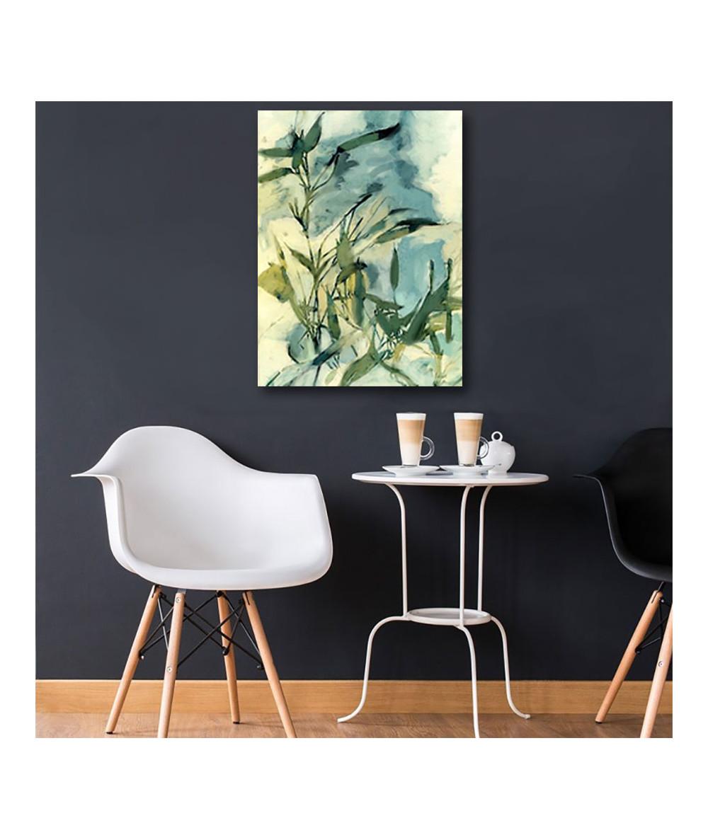 Malarstwo Akwarele - Obraz zielone liście Melodia wieczoru