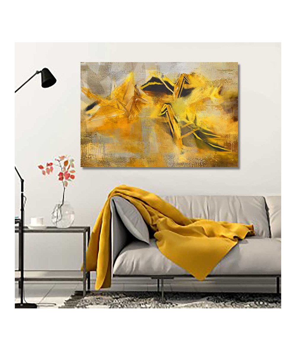 Obraz do salonu złoty Origami