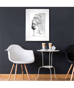 Plakat czarno biały w ramie Kobieta jak wino