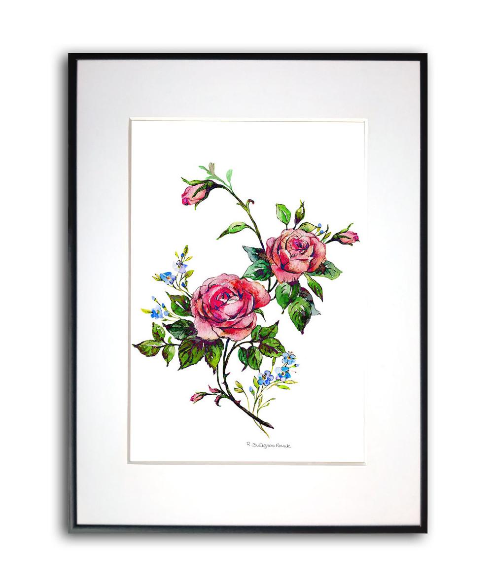 Plakat róża w ramie Czerwona róża