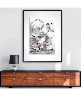 Plakat akwarela w ramie Motyle i polne kwiaty