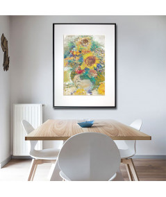 Plakat akwarela Chabry i słoneczniki