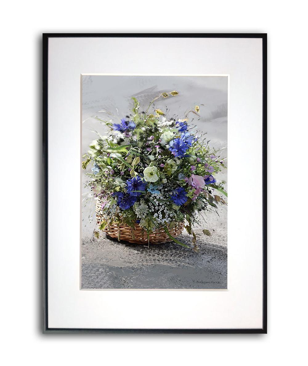 Plakat na prezent w ramie Koszyk z kwiatami