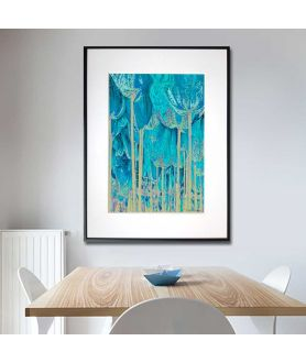 Plakat turkusowy na ścianę Tulipany drzewa