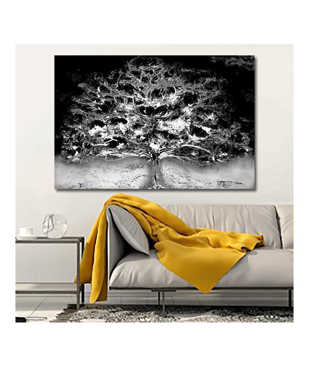 Obraz z drzewem czarno biały Drzewo i noc