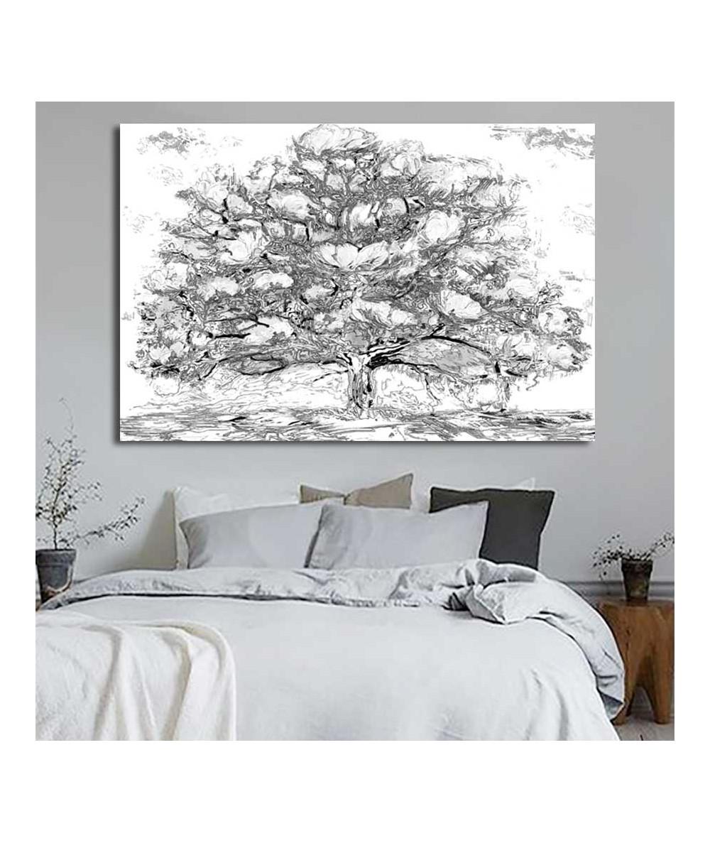 Grafika drzewo Drzewo magnolii czarno białe