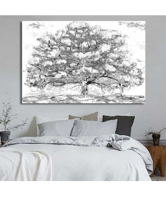 Obrazy drzewo - Grafika drzewo Drzewo magnolii czarno białe