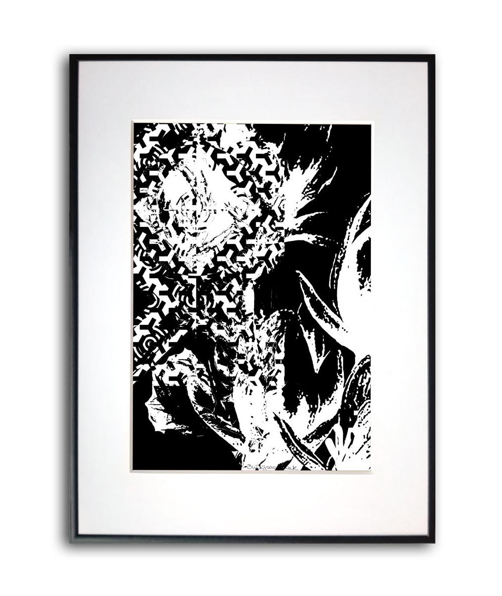 Plakat z ramą Czarno białe kwiaty magnolii