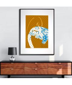 Plakat z pocałunkiem w ramie Grafika abstrakcja złota