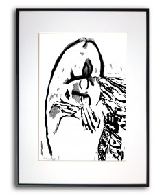 Czarno biały plakat w ramie Grafika pocałunek 2