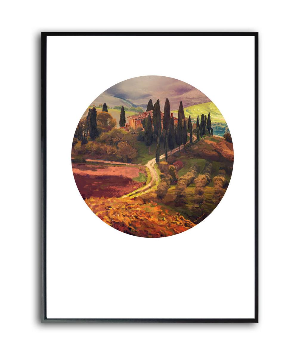 Plakat w ramie na ścianę Toskania o wschodzie słońca