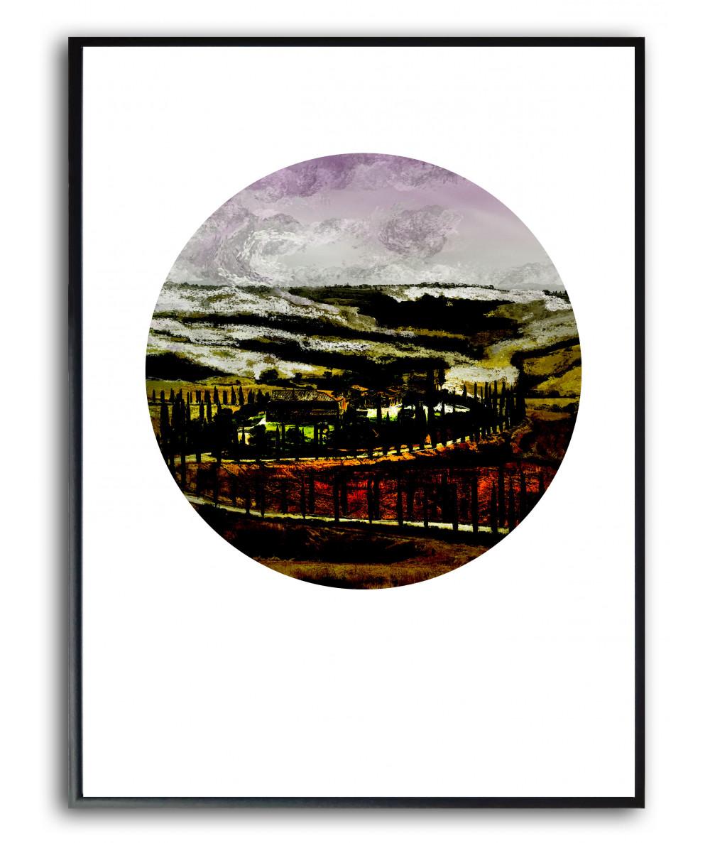 Plakat w ramie Wieczór nad polami Toskanii