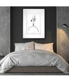 Nowoczesny plakat czarno biały w ramie Grafika pocałunek 3