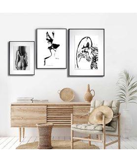 Plakaty czarno białe do salonu zestaw