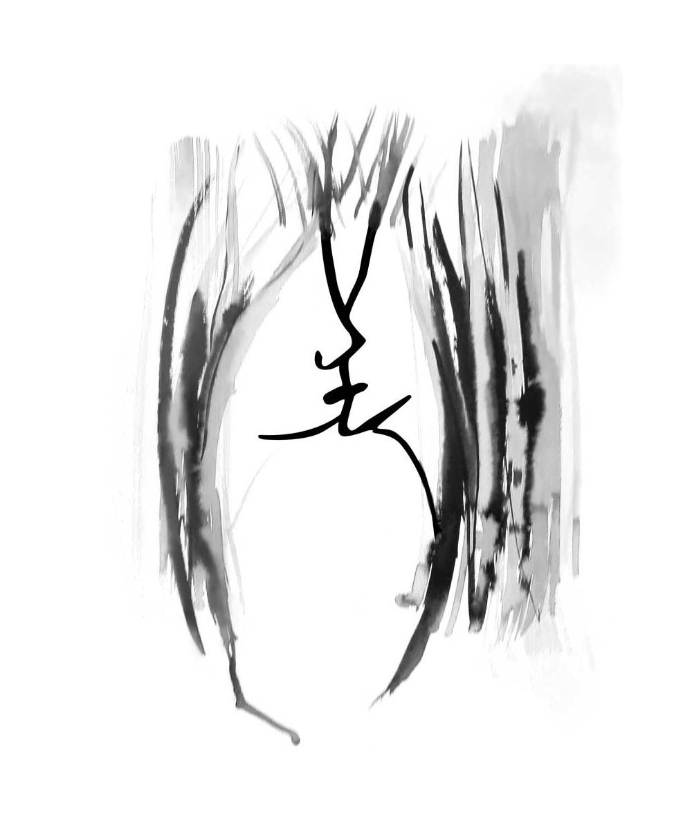 Obraz czarno biały Grafika pocałunek 5 (pionowy)
