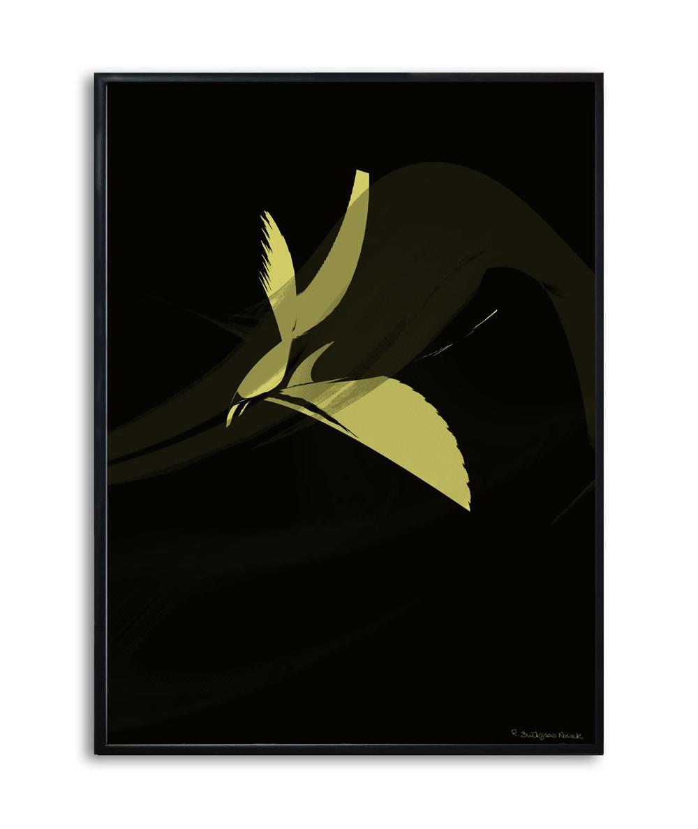 Plakat ptak czarno złoty Simplicity no. 56