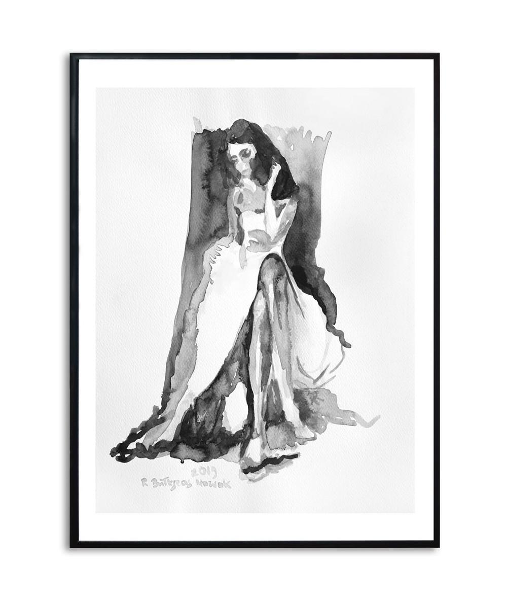 Plakat akwarela z kobietą Zanurzona w myślach