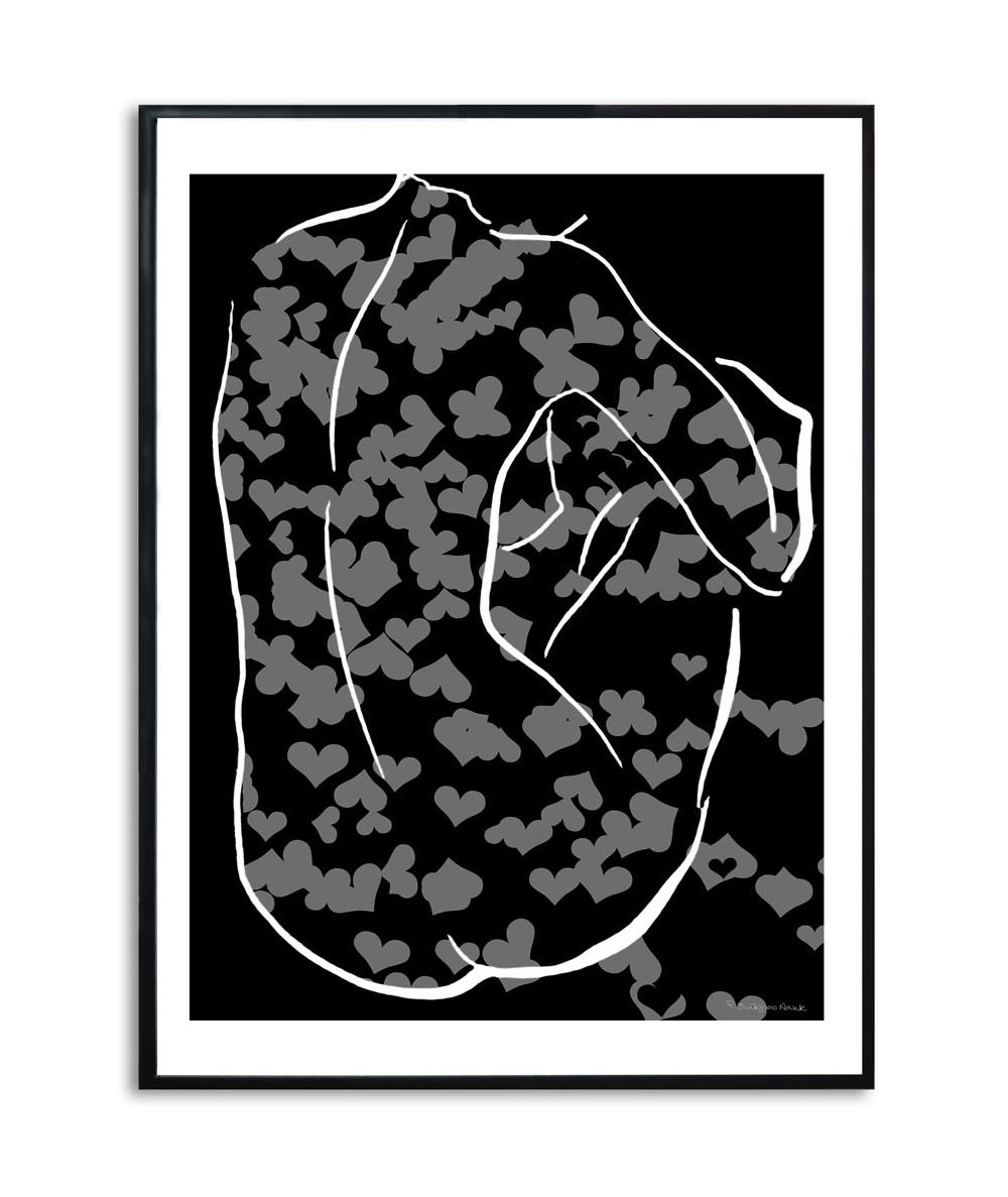 Czarno biały akt grafika w ramie Czarno biała walentynka