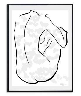 Plakat love w stylu glamour Szaro czarna walentynka