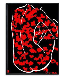Plakat akt z czerwonymi sercami Moja walentynka