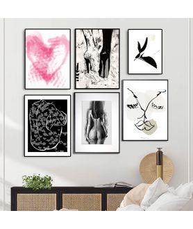 Zestaw plakatów miłość (akt, serce, pocałunek, kobieta)