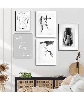 Czarno białe plakaty miłosne na ścianę
