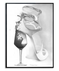 Plakat biało czarny Kobieta jak wino