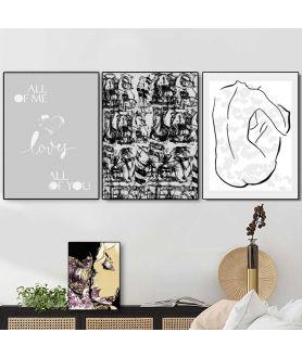 Zestaw plakatów czarno białych