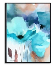 Plakat kwiaty na ścianę Turkusowe maczki
