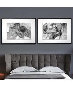 Dwa plakaty czarno białe do sypialni z motywem MIŁOŚĆ - Grafiki Obrazy