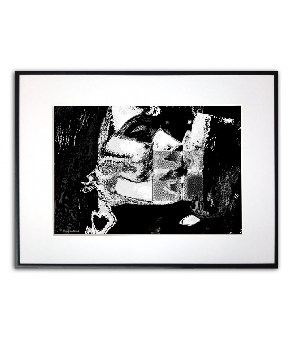 Plakat o miłości czarno biały Pocałuj mnie