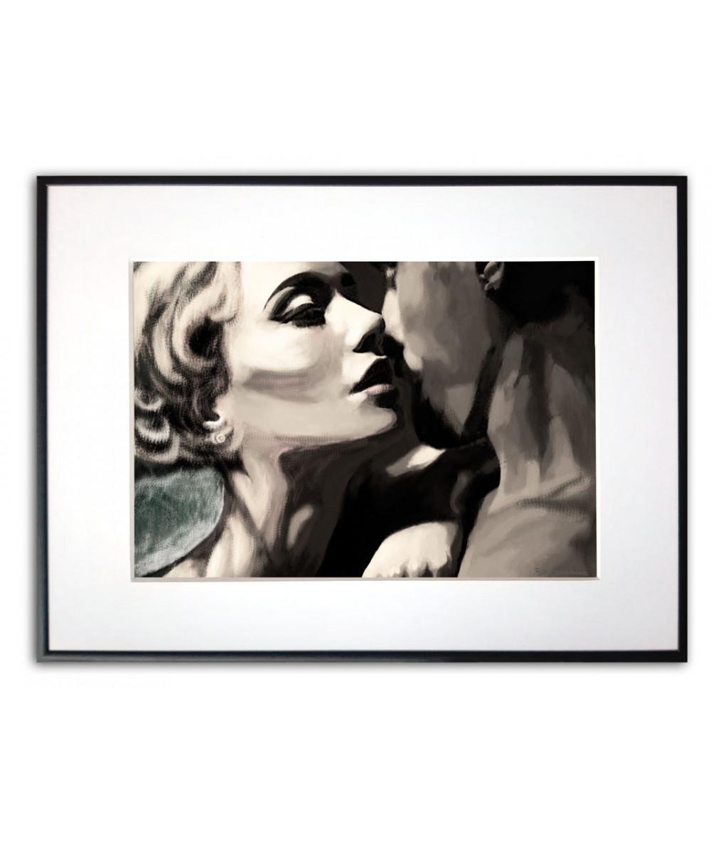 Plakat romantyczny nad łóżko Namiętny pocałunek