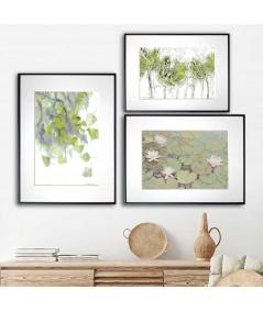 Zestaw plakatów z zielenią - Grafiki Obrazy