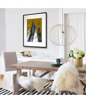 Plakat góry na ścianę Góry na złotym tle pionowe - Grafiki Obrazy