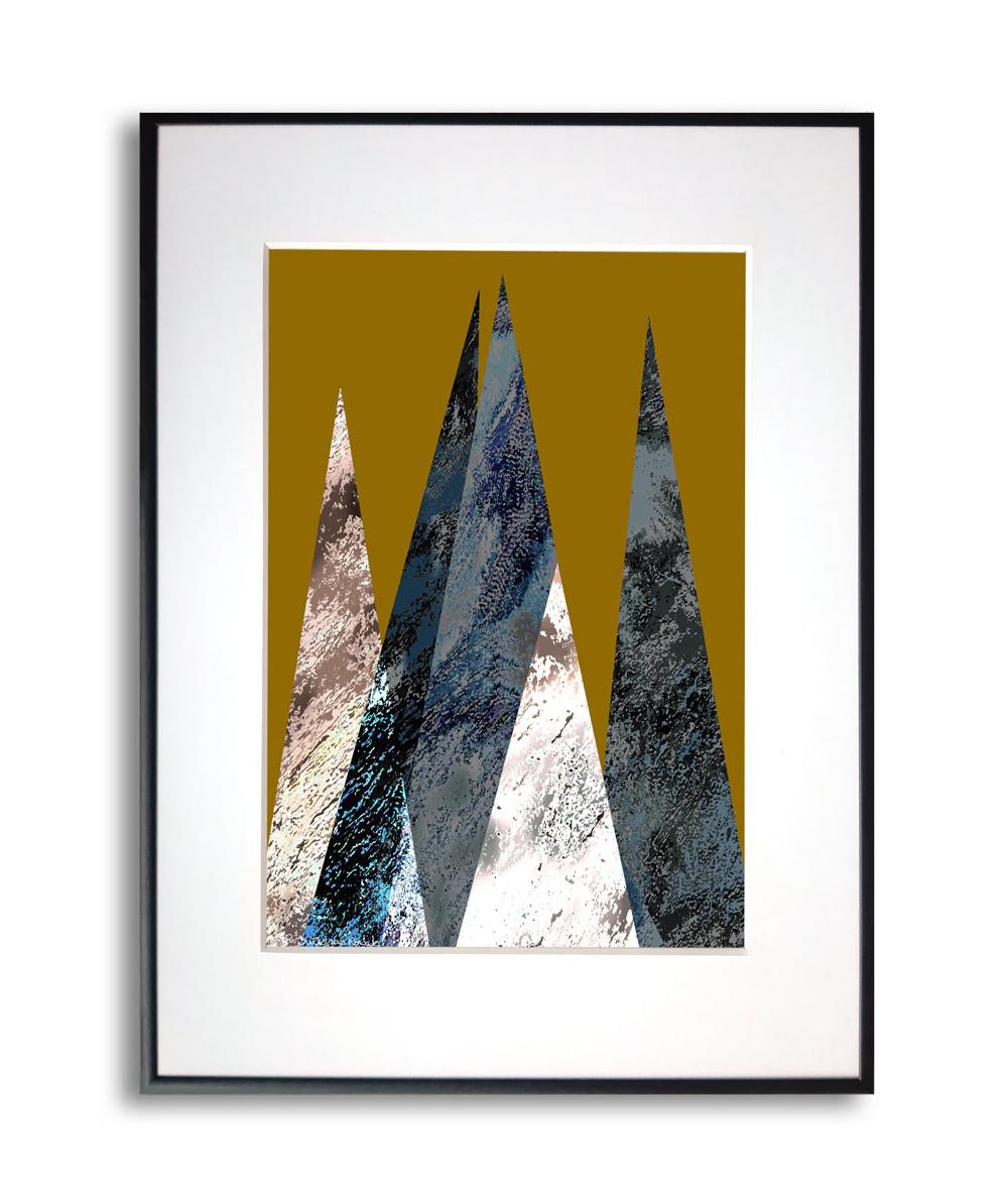 Plakat góry na ścianę Góry na złotym tle pionowe